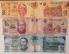 Mexican Pesos (Pesos Mexicanos) - 20, 50, and 100 demonominations.