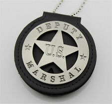 Round Badge US Deputy Marshal Star Western Cowboy Badge with Round Holder