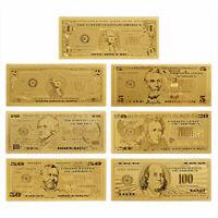 7 STÜCKE Goldfolie Banknote USA 1 Dollarschein Währung Papier Geld Metall S B0X1