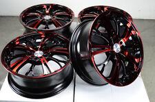 17 5x114.3 5x100 Red Wheels Fits Lexus Mazda 3 6 Cavalier Prelude TL 5 Lug Rims