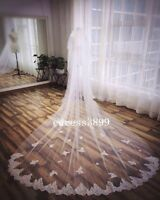 3 Meters Long Ivory/White 2T Lace Edge Cathedral Bridal Wedding Veil With Comb