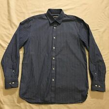 AUSTIN REED mid and dark blue white striped long sleeved shirt size S small VGC