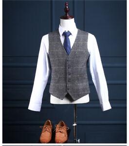 Men's Gray With Striped Herringbone Tweed Formal Vest Casual Waistcoat XS-XXL