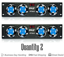 """Qty: 2 PylePro PFN41 19"""" Rack Mount Cooling Fan System W/Temperature Display"""