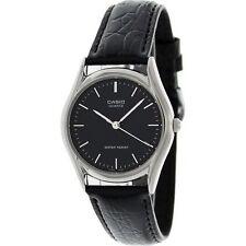 Casio Men's Black Leather Strap Watch, Black Dial, MTP1093E-1A