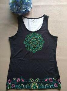 ATHLETA Knit Yoga Active wear Tank Top Sleeveless Paisley Black Sz.S
