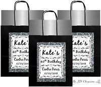 BIRTHDAY PARTY BAG SILVER GLITTER EFFECT PERSONALISE BLACK EMPTY + TISSUE PAPER