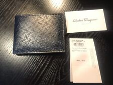 New Auth Salvatore Ferragamo Bifold Embossed Leather Men Wallet Navy Logo $360