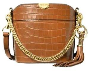 NWT MICHAEL KORS Chestnut  Bea MD Croc-Embossed Leather Bucket Bag Shoulder