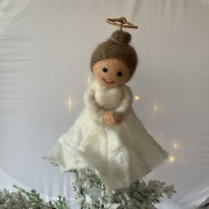 Fair Trade Angel Tree Topper Christmas Tree Decoration Felt Wool Fairy White