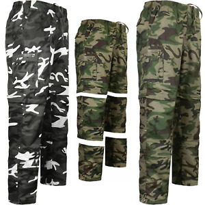 Mens 3 In 1 Camouflage Cargo Combat Trouser Shorts 3/4 Pants Trousers M-3XL