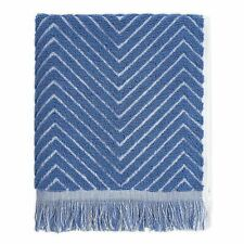 Chevron Textured Hand Towels Guest Bathroom Summer Beach Set of 2 Blue/White