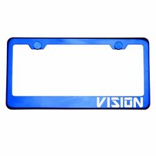 Blue Chrome License Plate FVISIONe VISION Laser Etched Metal Screw Cap