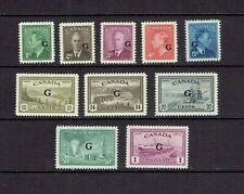 CANADA - 1950 KING GEORGE VI & PEACE ISSUE - 'G' O/PRINT - SCOTT O16 TO O25 - MH