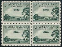 Australia C1 block/4,MNH/folded. Air Post 1929.Airplane over Bush Lands.Sheep