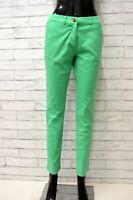 Pantalone Jeans Donna Taglia 38 Pants Woman Estivo Gamba Dritta Verde Corto