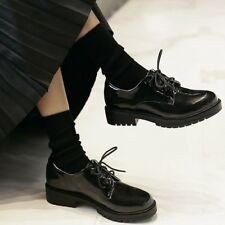 Women's Patent Leather Oxfords Round Toe Block Low Heel Lace Up Shoes US 4.5-11