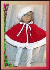 "Doll Clothes Made 2 Fit American Girl 18"" inch Cape 3 pc Leggings Beret Velvet"