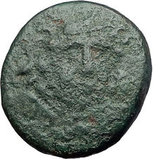 AMPHIPOLIS in MACEDONIA 100BC Rare Ancient Greek Coin GORGONEION & ATHENA i61887