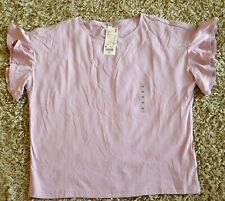 Uniqlo Women T-Shirt Frill Sleeve Size M Purple