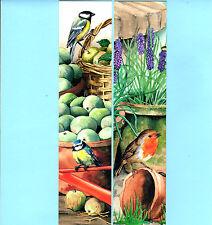 2x Bookmarks Robin Blue Tit Bird Lavender Apple Flower Birthday Gift Friend Lot
