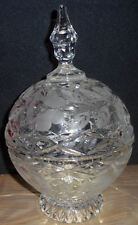 Vintage Collectible Lead Crystal Glass Compote Bowl Dome Lid Cover Frosted Rose