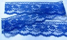 ROYAL BLUE~3 Inch Wide Floral Lace Trim By 10 Yards