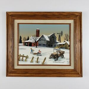 Original H Hargrove Snowy Country Oil Painting on Canvas Signed Certified 14x12