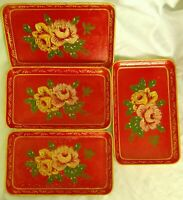 1940s Sonsco Alcohol Proof Occupied Japan Paper Mache Painted Red Floral Trays