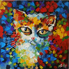 100%HAND-PAINTED ART ACRYLIC OIL PAINTING ABSTRACT Animal  cat 40x40cm