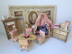 Antique Victorian German Dollhouse Furniture & Miniatures Canopy Bed Armoire