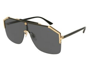 Gucci GG0291S 001 Gold Black Grey Lens Aviator Large Mask Sunglasses Authentic