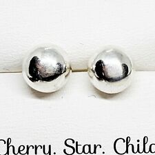 Solid sterling 925 silver polished ball stud earrings