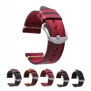 Top Layer Cowhide Genuine Leather Watch Bands Wristwatch Straps Parts 26mm Red