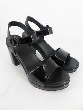 What For leather Block Heel Black Patent Sandals RRP £150 UK 5 EU 38 LN34 84