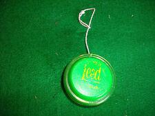 rare 1970s green YO YO faded lettering wooden axil.    LEED LEMONADE faded