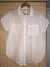 LOGG at H&M White Cotton Short Sleeve Shirt UK 16 (US 12)