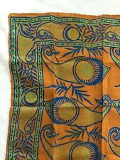Vintage Silk Scarf Small Square Paisley Batik Pattern Orange Blue Retro 16.5""