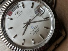 Vintage Technos Star Chief Day-Date Watch w/Divers All SS Case,Orig Bracelet