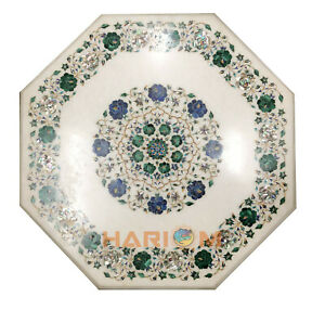 """21"""" Marble Top Coffee Table Malachite Lapis Floral Marquetry Inlay Decorate W074"""
