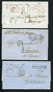 OK187) India 3x stampless folded covers oppertunity ca. 1860 to FRANCE