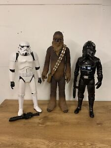 STAR WARS FIGURES X3 - 19 INCH - CHEWBACCA, TIE FIGHTER, STORMTROOPER - AWESOME