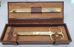 Vintage Budd Leather Desk Set - Scissors Letter Opener In Leather Case