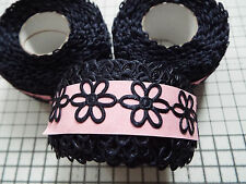 2m -Navy, Daisy Flower Motif - Applique, Trimmings,Wedding -  Satin Lace Ribbon