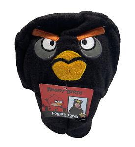 "Angry Birds Black Hooded Towel 23""x51"" 100% Cotton Home Bath Kids Pool Beach Fun"