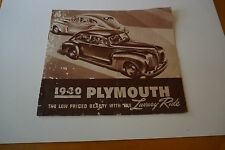 "1940 Plymouth Automobile Brochure Sepia Tone Drawings 8.5"" x 10"" 12 Pages FR/GD"