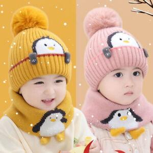 Baby Hat Scarf Winter Kids Girls Boy Wool Hat Earflap Hood Ski Cap 1-3 Years Old