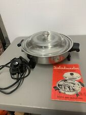 Vtg Saladmaster Stainless Steel Model 7817 Electric Skillet With Glass Lid