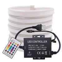 1-100m RGB LED Strip AC 110V 220V Waterproof 5050 SMD Neon Commercial Rope Light