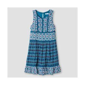 Xhilaration Girls' Turquoise Ikat Geometric Print Sleeveless Dress - Size M, L